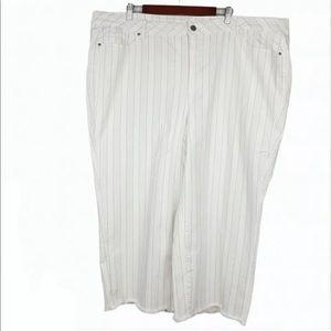 Love & Legend Stripe Jeans Raw Hem Ankle Crop